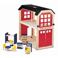 Wooden Fire Station Play Set and Accessories
