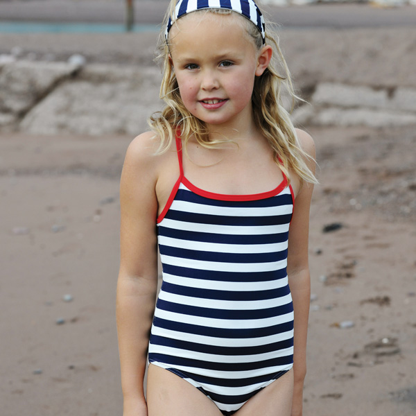 Navy Striped Swimsuit for a Girl
