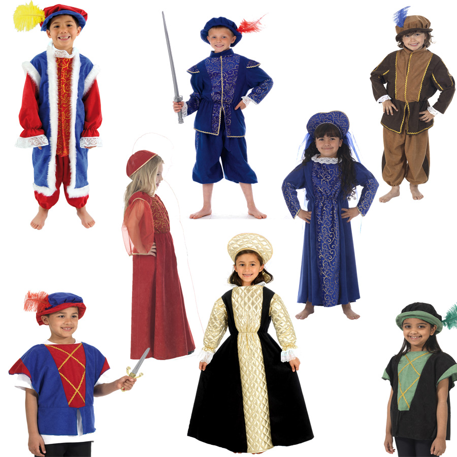 Children's Tudor Costumes  Elizabethan King  Queen Costume Clothing