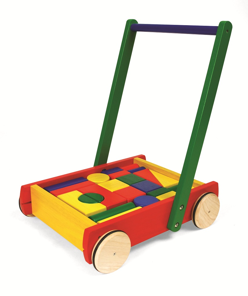 Baby Walker with 24 Wooden Blocks, Wooden Baby Walker, Pintoy Baby ...
