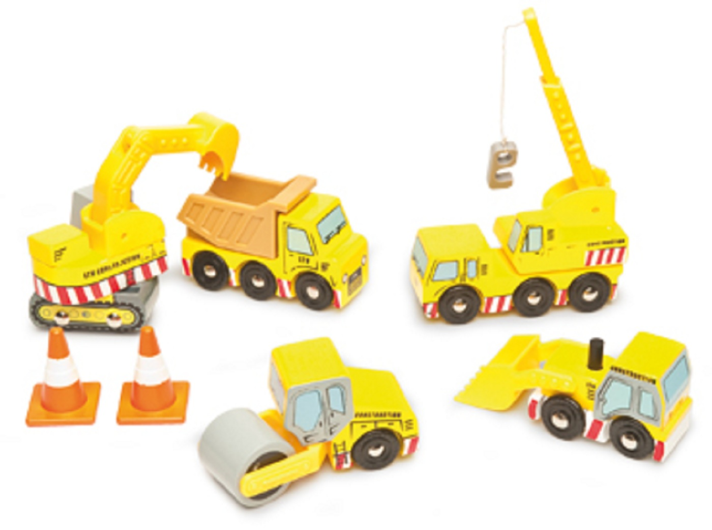 Construction Vehicle Toys Wooden construction site toys spotty green ...