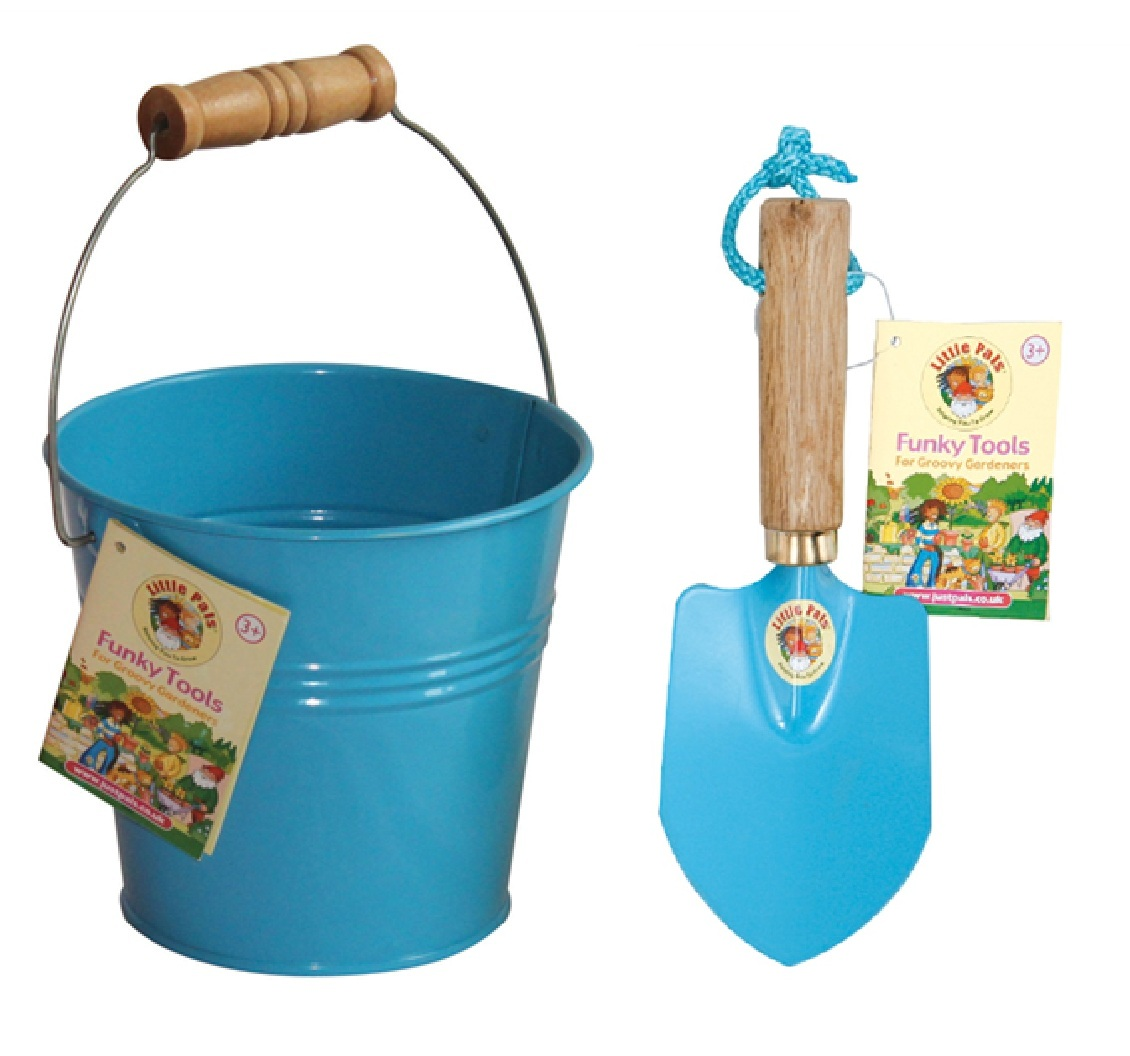 Childrens blue bucket and trowel kit gardening tools for kids for Gardening tools toddlers