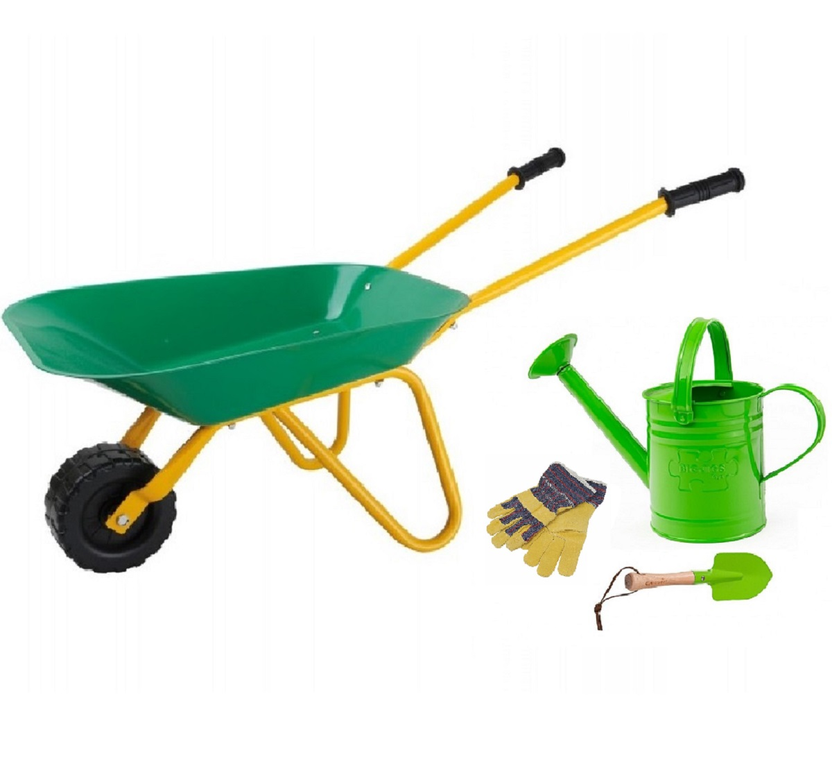 Children 39 s gardening tools watering can wheelbarrow set for Gardening tools toddlers