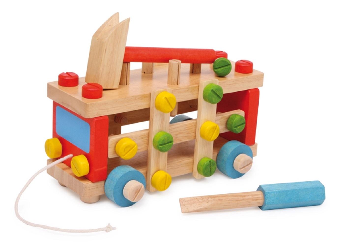 Wooden Construction Toys : Wooden construction vehicle set