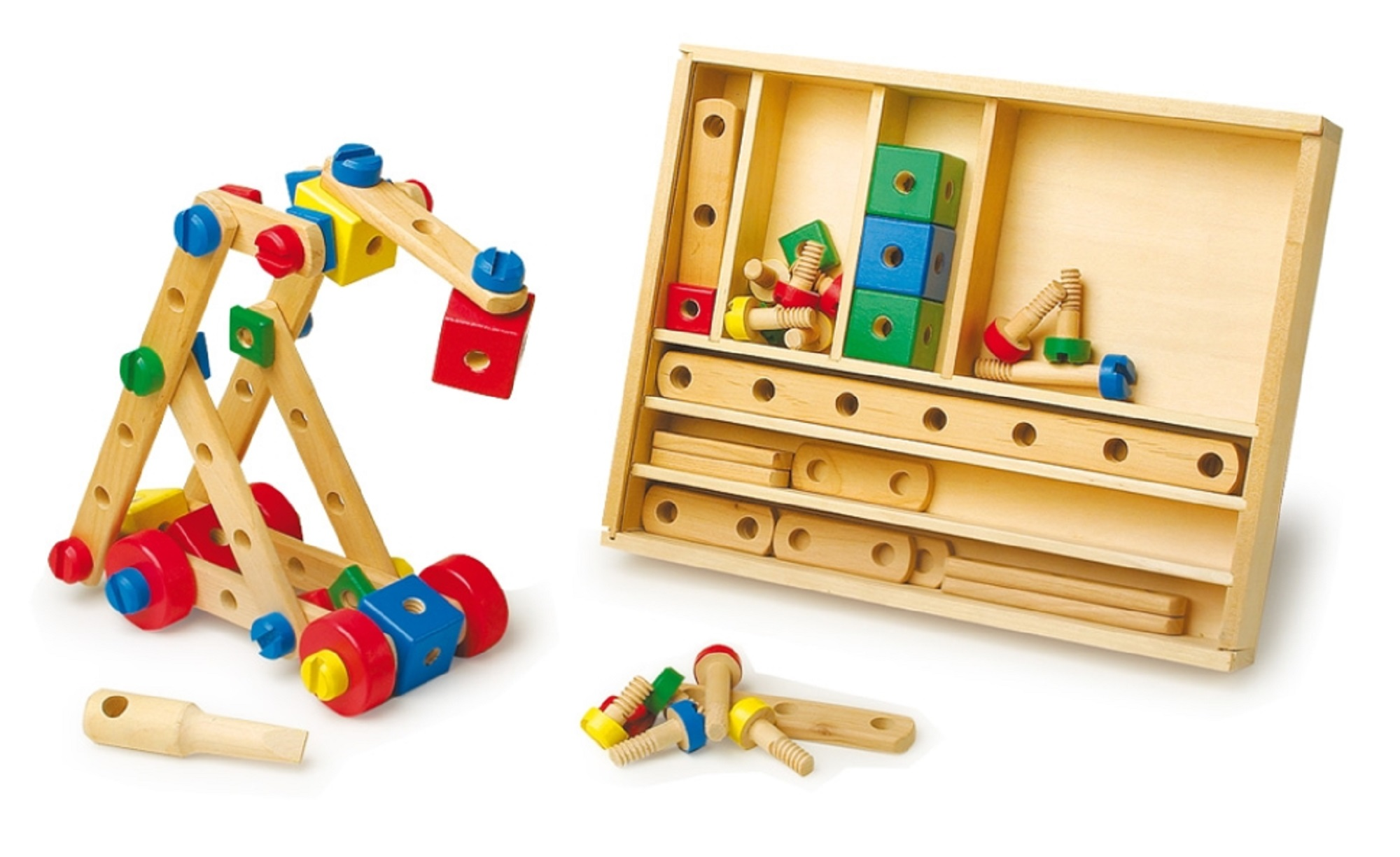 Wooden construction set with 84 pieces in varying shapes, sizes and ...