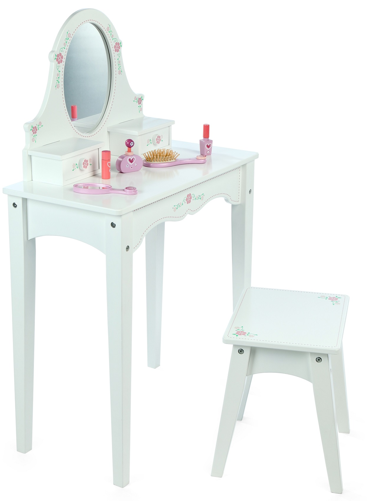 Wonderful image of White Wooden Dressing Table & Stool with #A8242B color and 1245x1700 pixels