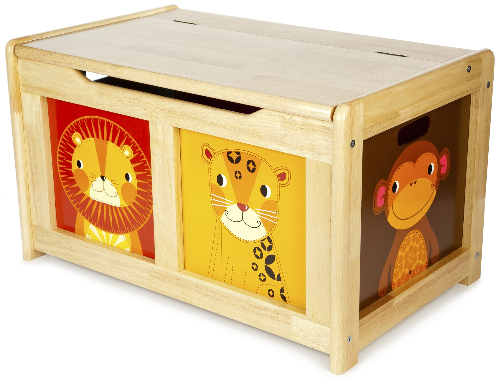 This Natural Wooden Jungle Toy Chest features a 'soft close' mechanism ...