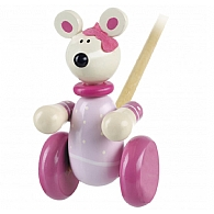 Push Along Wooden Pink Mouse