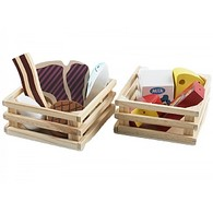 2 x Crates of Wooden Meat and Dairy Products