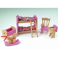 Pink Dolls House Childrens Bedroom Set