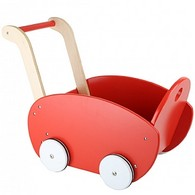 Red Wooden Dolls Pram
