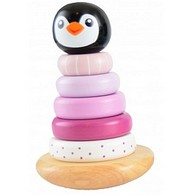 Wooden Wobbly Stacking Penguin - Pink