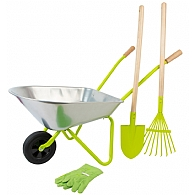 Silver Metal Wheelbarrow With Tools and Gloves