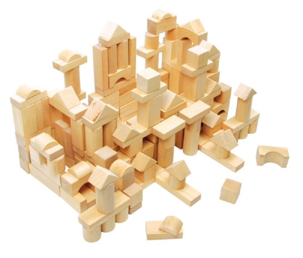Sack of natural wooden blocks childrens