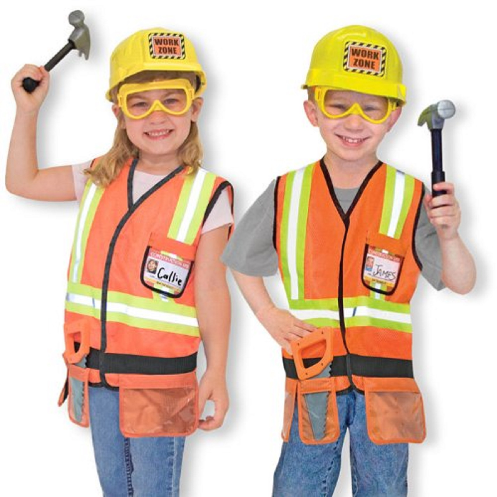 AllwaySmart Kids Cute neon pink kids safety vest reflective high visibility and pretend play construction party costume for small girls.