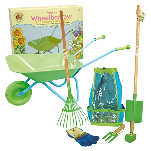 Childrens green wheelbarrow and garden tool set gardening for Gardening tools toddlers