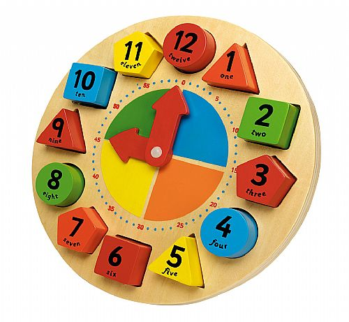 Childrens Sorting and Teaching Clock, Wooden Clock Toy
