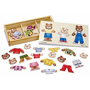 Dress Up Wooden Bear Family Puzzle