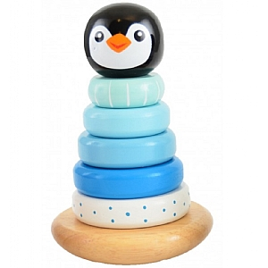 Wooden Wobbly Stacking Penguin - Blue