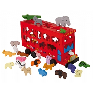 Animal Wooden Shape Sorter Bus