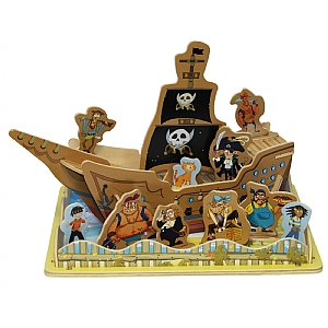 Pirate Ship & Seashore Wooden 3D Puzzle