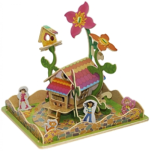Flower House and Garden Wooden 3D Puzzle