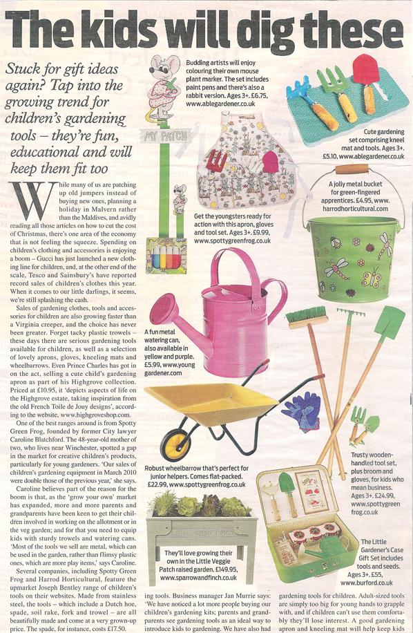Daily mail supplement article on Children's gardening tools